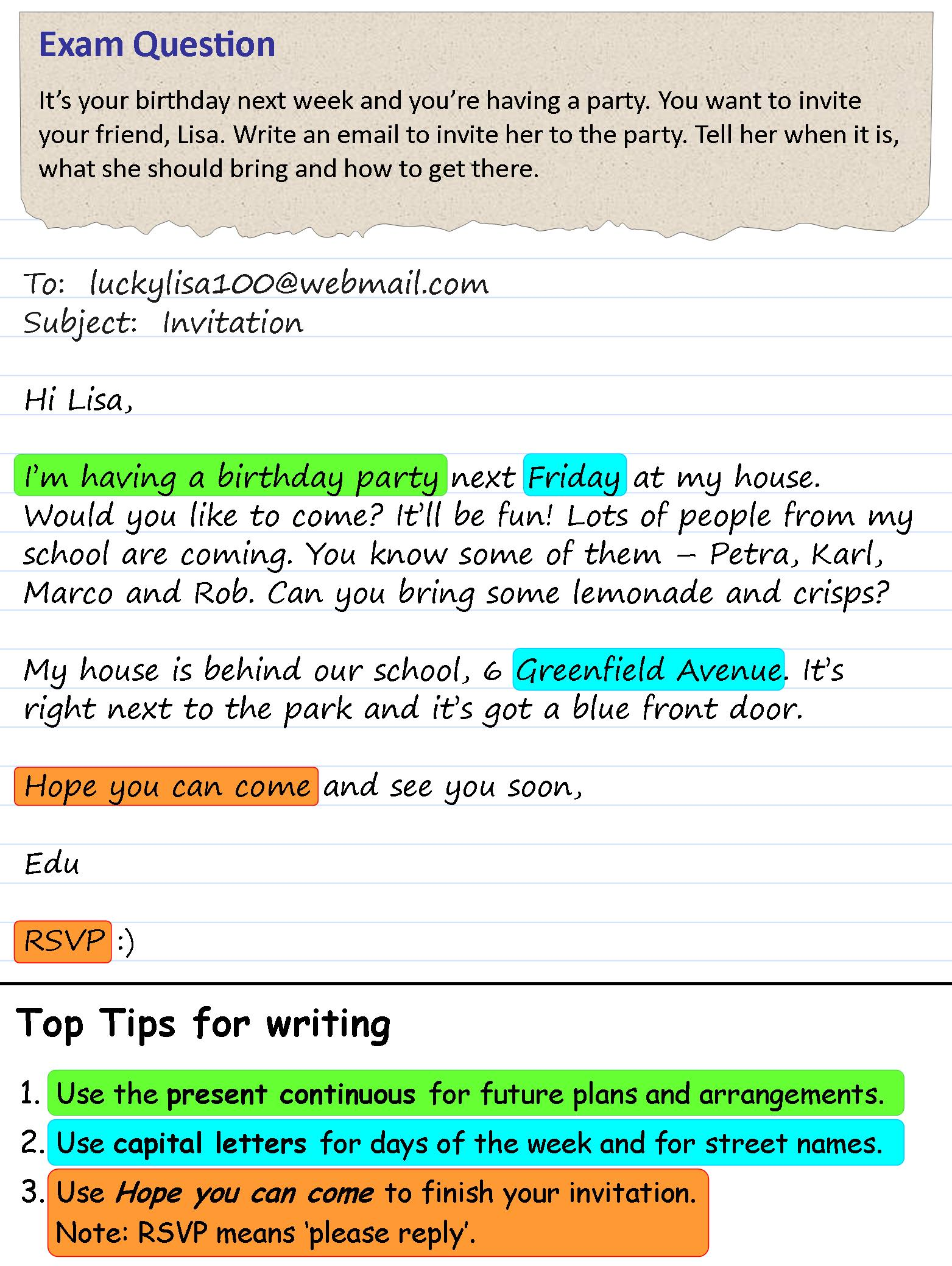 an invitation to a party learnenglish