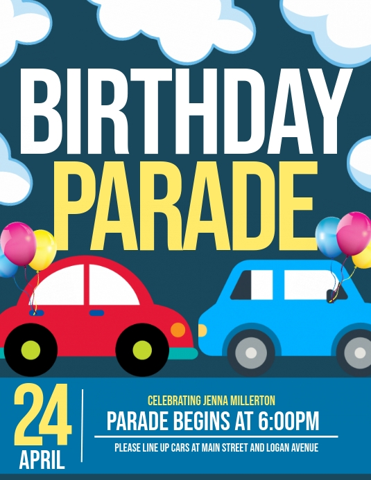 birthday parade template postermywall