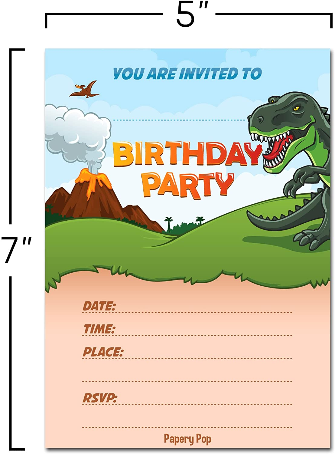 30 dinosaur birthday invitations with envelopes 30 pack kids birthday invitations for boys or girls dinosaur party decorations supplies