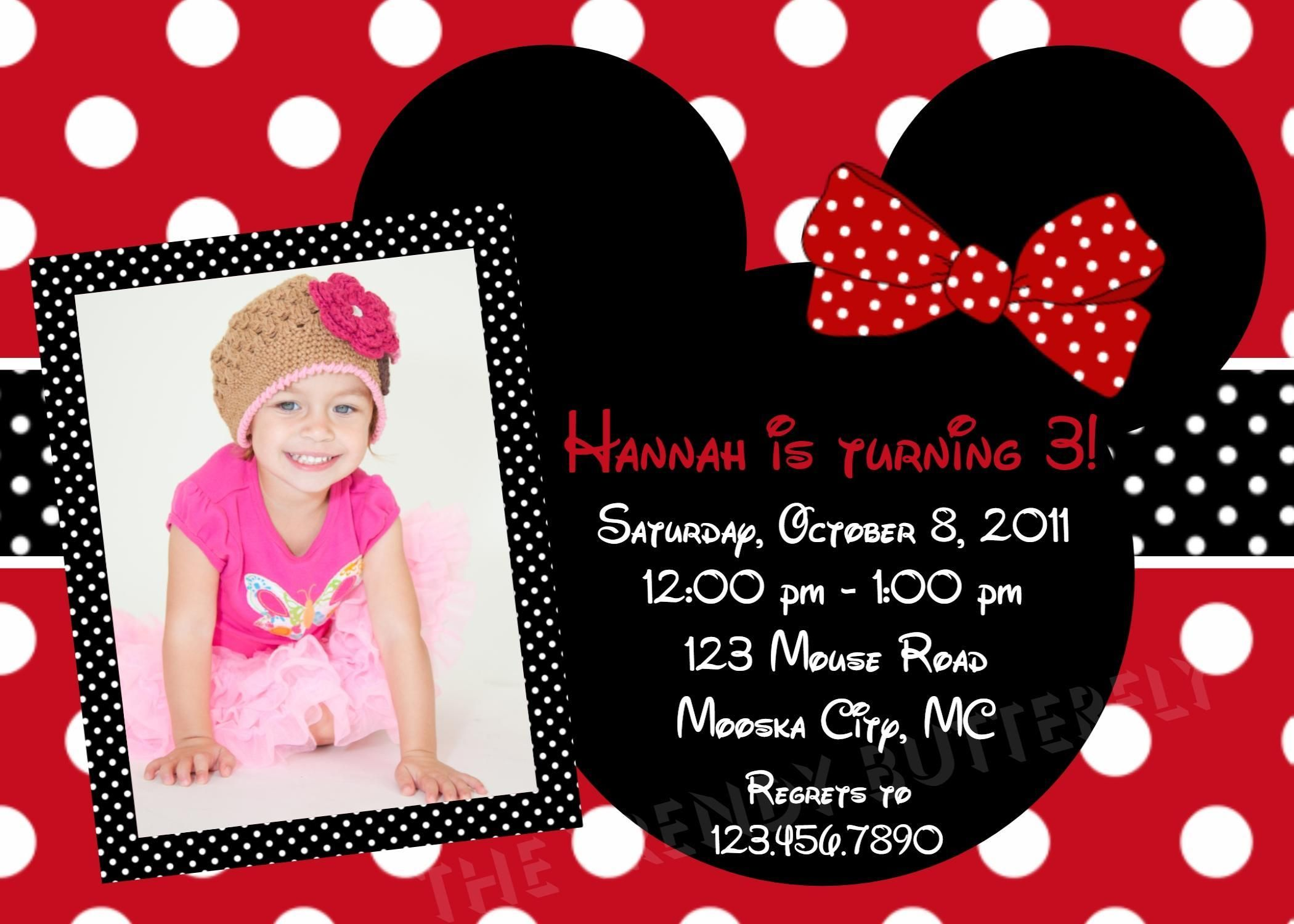 red minnie mouse invitation template